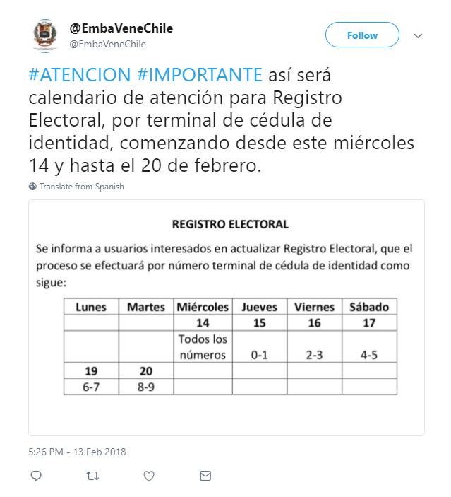 Calendario CNE Chile