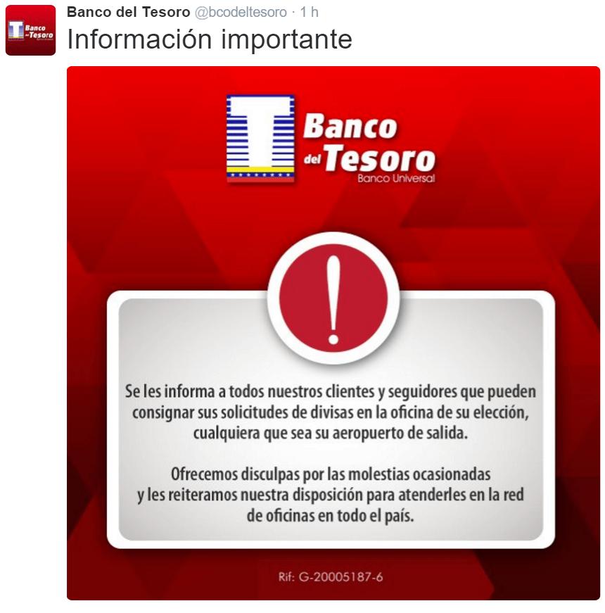 Solicitud de tarjeta de credito banco del tesoro carpeta for Oficina del banco de venezuela
