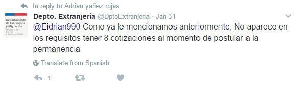 Cotizaciones mínimas para permanencia definitiva Twitter DptoExtranjeria