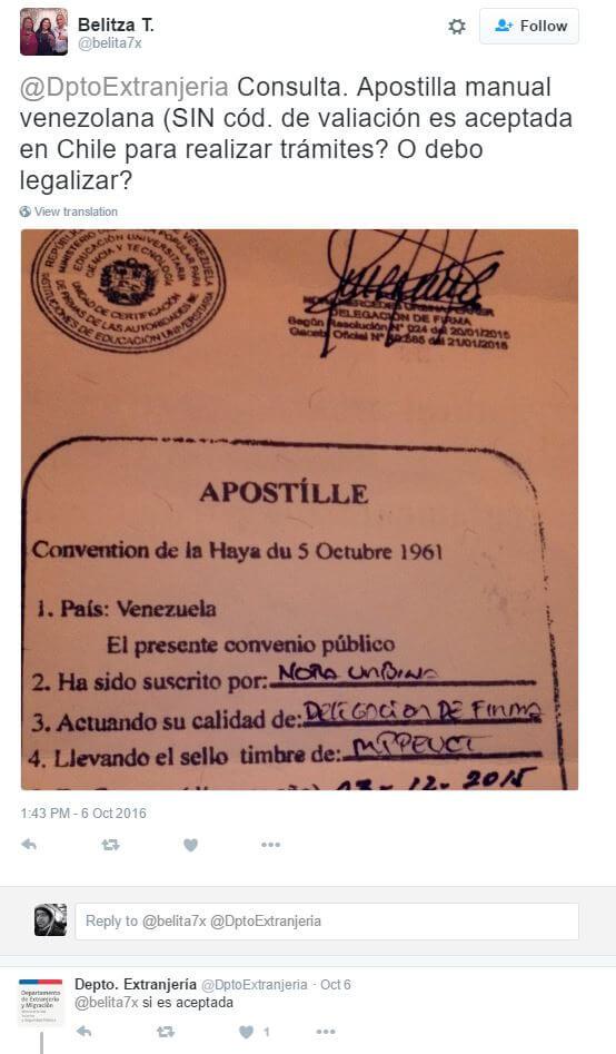 Extranjería Chile confirma que los títulos apostillados no necesitan código de validación
