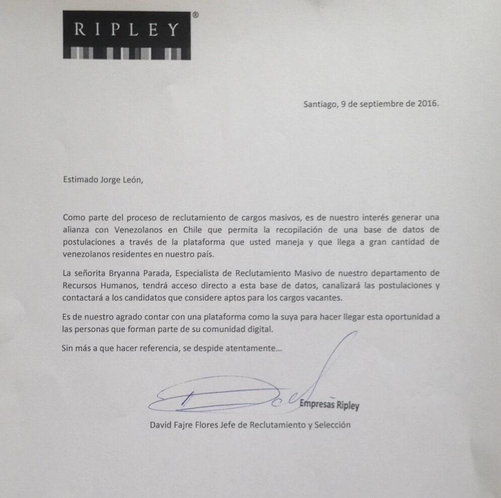 Carta de Ripley a Jorge Leon de venezolanoenchile.com