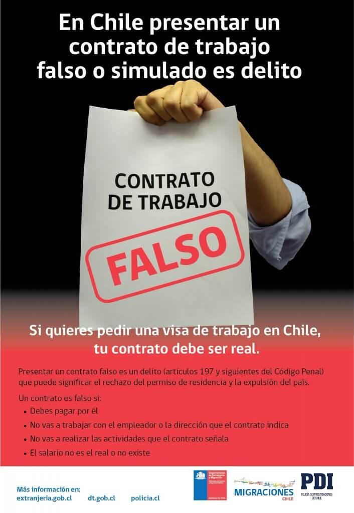 Presentar contratos falsos en Chile es un delito