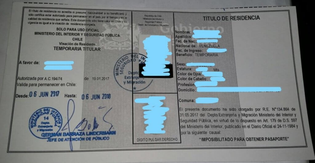 Título de residencia emitido en la Embajada de Venezuela en Chile