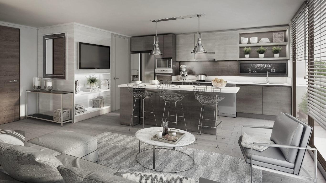 Imagina una inmobiliaria comprometida con los for Cocina integrada