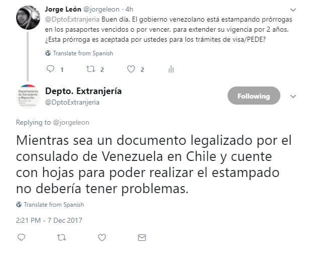 Tweet-DptoExtranjeria-prorroga-pasaporte-venezolano-chile