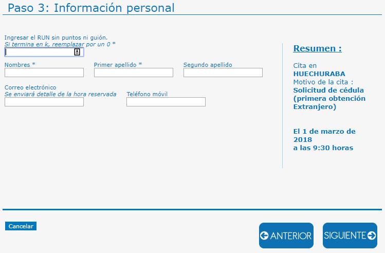 Paso 3 - Solicitud de cédula por primera vez para extranjeros en Registro Civil Chile