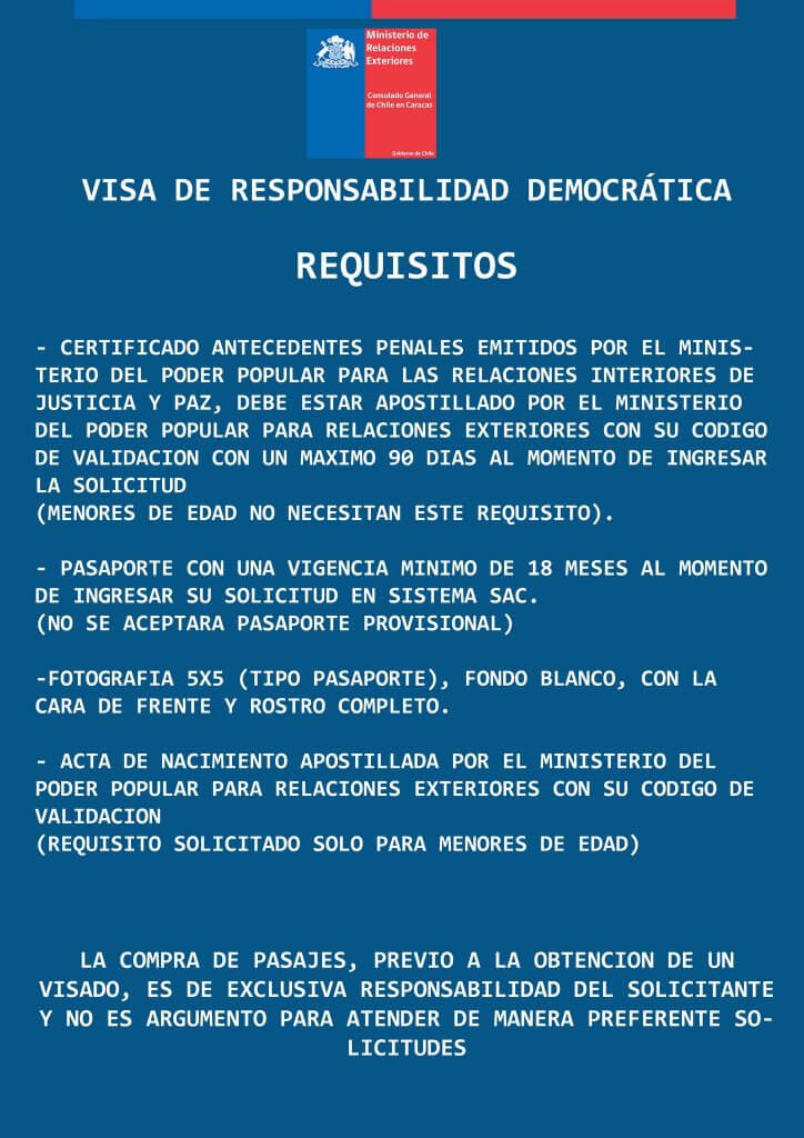 Requisitos visa de responsabilidad democrática