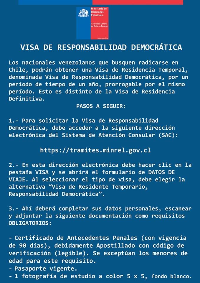 Visa De Responsabilidad Democrática Vrd Para Chile