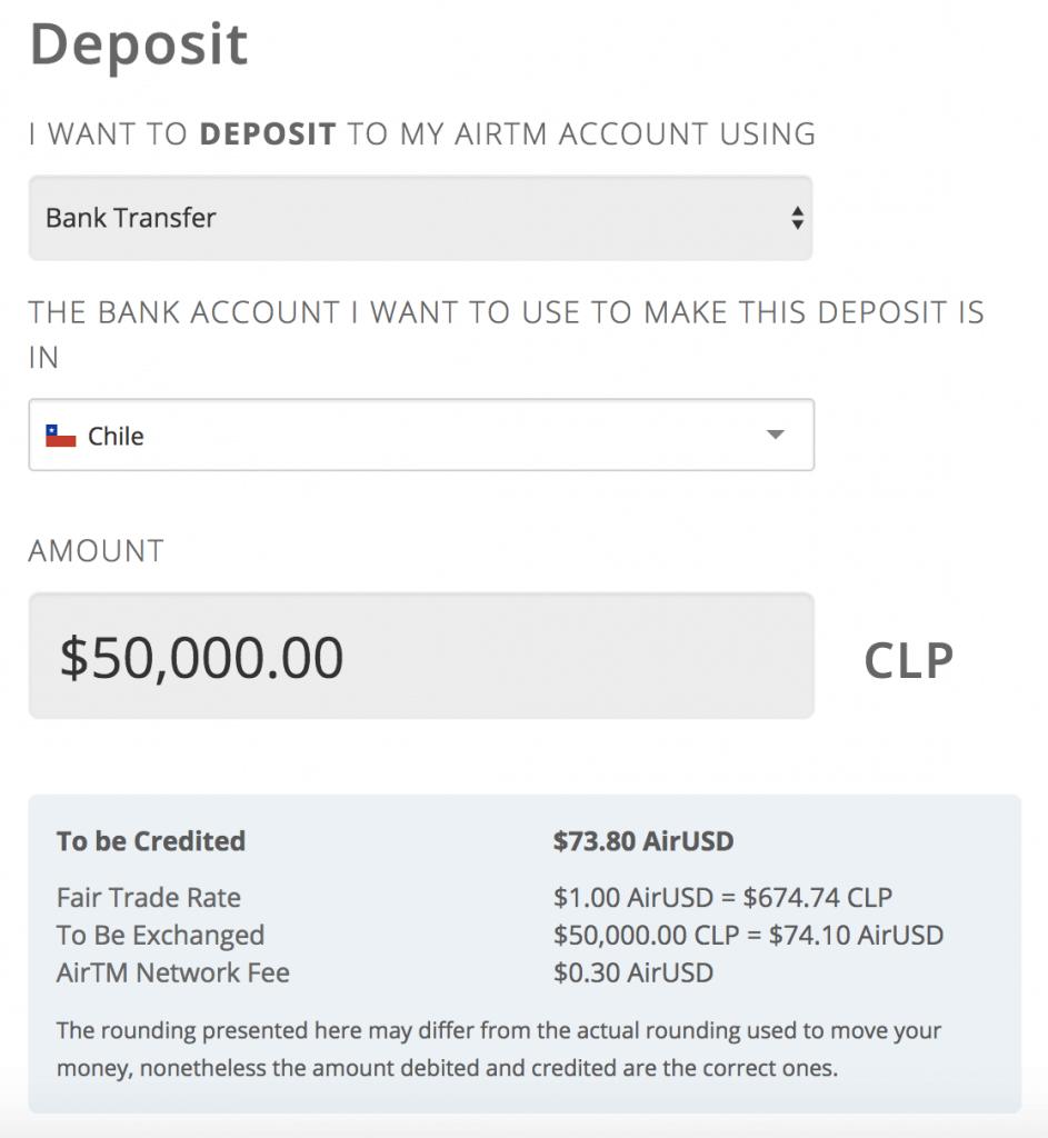 depósito 50000 pesos AirTM