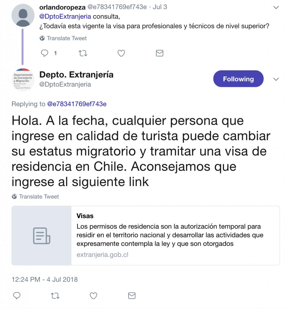 confirmación extranjería visa temporaria para profesionales vigente
