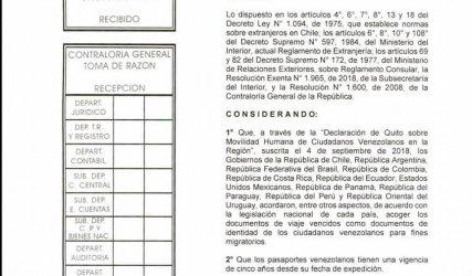 Decreto pasaportes vencidos Chile 2019