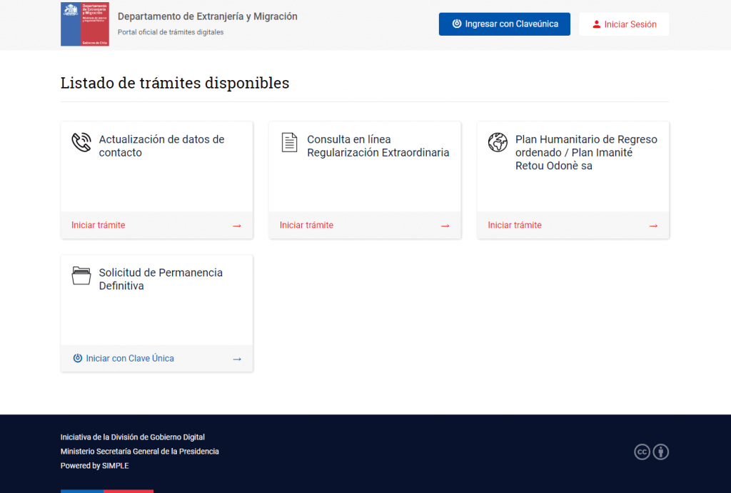 Permanencia definitiva online Chile